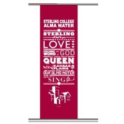 Banner, Alma Mater, Red, 18 in x 50 in