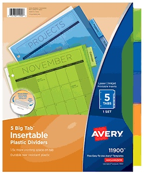 Avery Plastic Insertable Dividers, 5-Tab, Multicolor