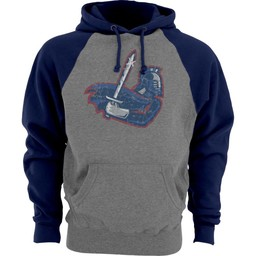 Blue 84 Sanded Fleece Contrast Sleeve Hood, Gunmetal & Navy