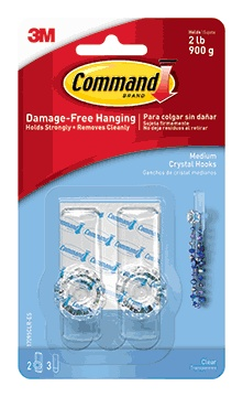 3M Command Crystal Hook, Med, 2ct