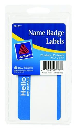 Avery Name Badge Labels, 25ct