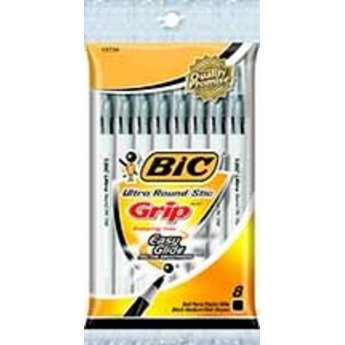 Bic Round Stic Grip Pen, 8ct,