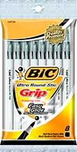Bic Round Stic Grip Pen, 8ct,