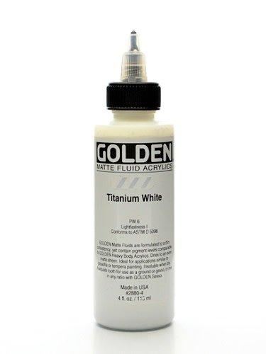 Golden Matte Fluid Acrylic, Titanium White, 4 oz.