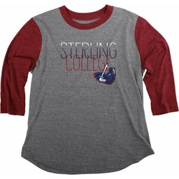 Women's Blue 84 Tri-Blend Baseball Tee - Heather/Cardinal -