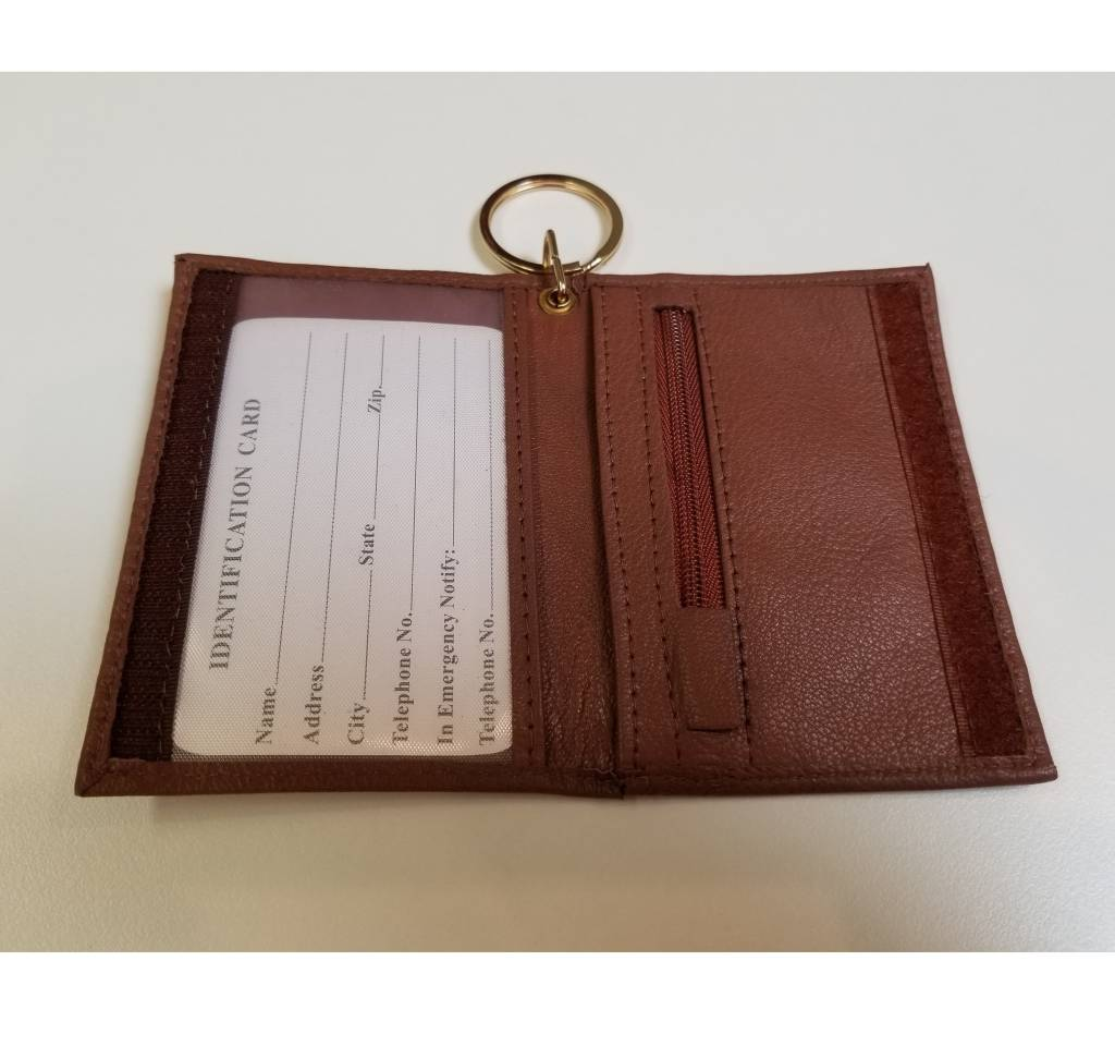 ID Holder with Key Ring, Leather,  Maroon