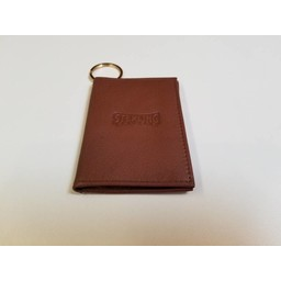 ID Holder with Key Ring, Leather,  Tan