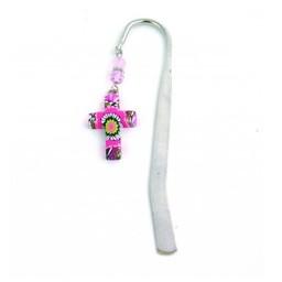 Cross Bookmark, Pink Flower