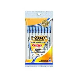 Bic Round Stic Grip Pen, 8ct, Blue
