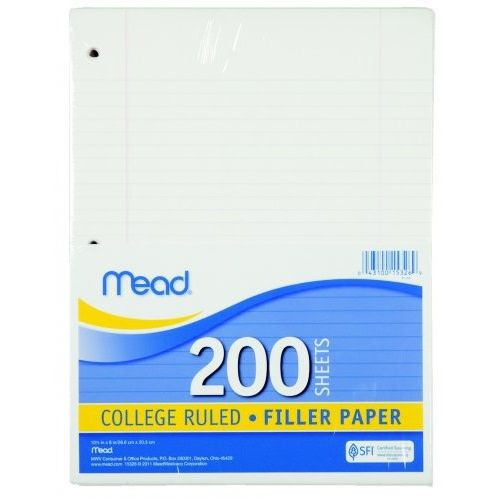 College Ruled Filler Paper, Mead, 200ct