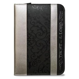 Zippered Journal: Black and Silver Trust in the Lord