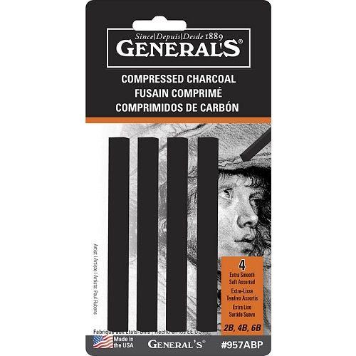 Generals's Compressed Charcoal Sticks, Set of 4