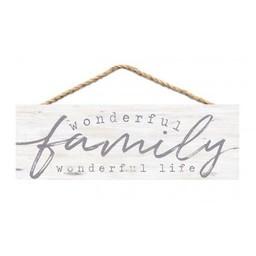 Slat Hanging Sign-Wonderful Family Wonderful Life