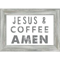 Jesus and Coffee Amen Framed Art 7.5x10.5