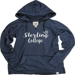Women's French Terry V-Neck Hoodie - Navy Blue -