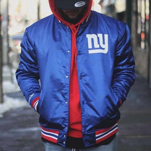 MITCHELL & NESS NFL SATIN JACKET GIANTS