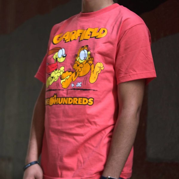 THE HUNDREDS GARFIELD CHASE T-SHIRT - CORAL