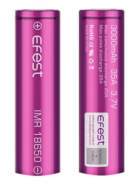 Efest IMR 18650 3000mah 35 Amp Flat Top Tear Resistant Battery (Purple)