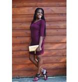 Hailey Dress Burgundy V-Neck