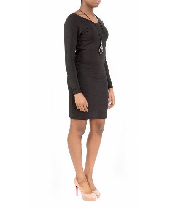 Hailey Dress Black V-Neck