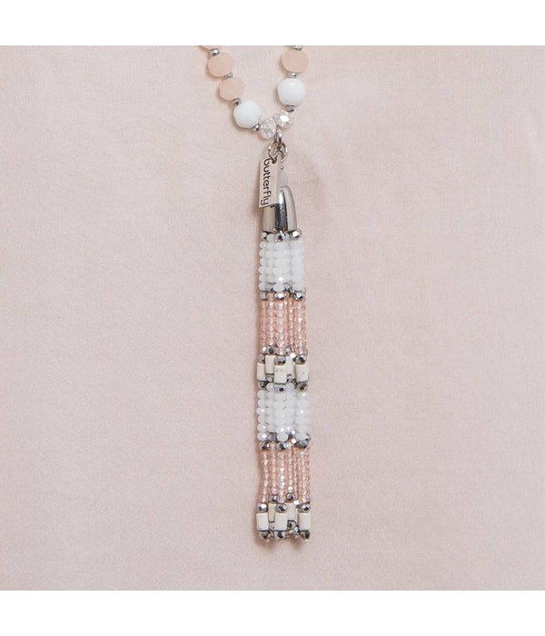 Butterfly Eden Rock White Small Tassel Necklace
