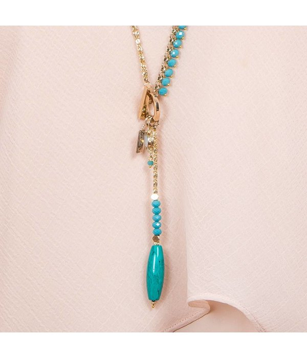 Butterfly Ocean Spray Turquoise Toggle Closure Necklace