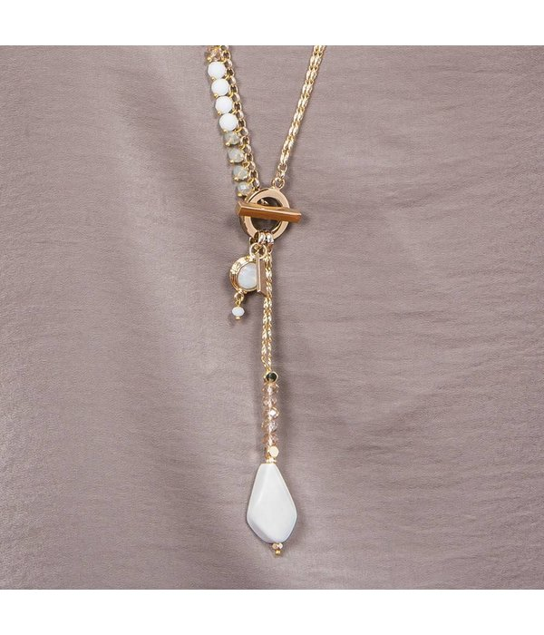 Butterfly Ocean Spray Toggle Closure White Necklace