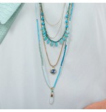 Butterfly Ocean Spray Turquoise Long Multi Level Necklace