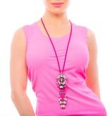 Butterfly Pop Pink Long Tassel Necklace
