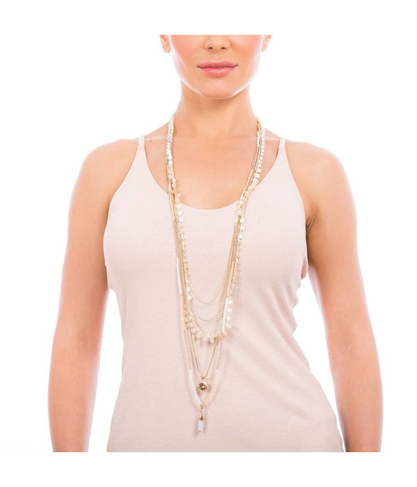 Butterfly Ocean Spray White Long Multi Level Necklace