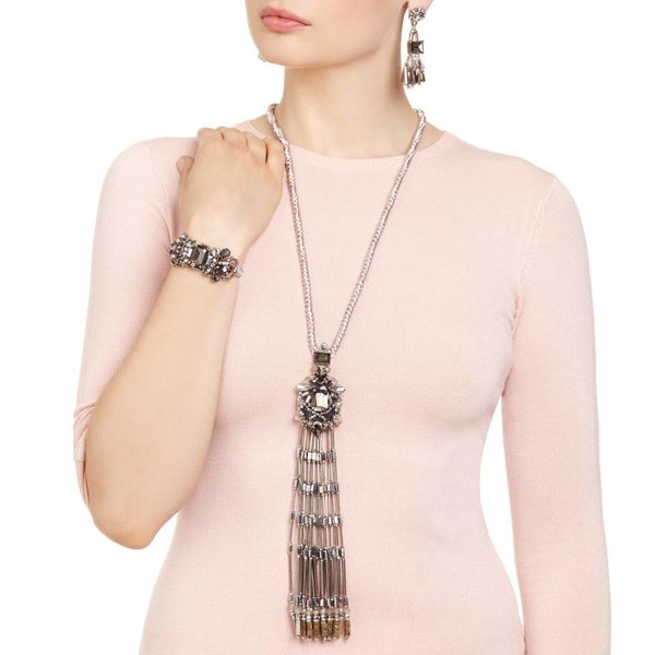 Butterfly Glacier Silver Long Tassel Necklace