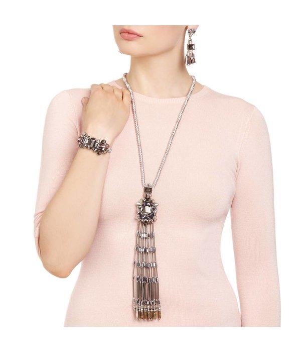 Butterfly Glacier Silver Long Tassel Necklace