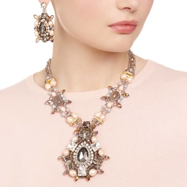 Butterfly Star Gazer Grey and Peach Necklace