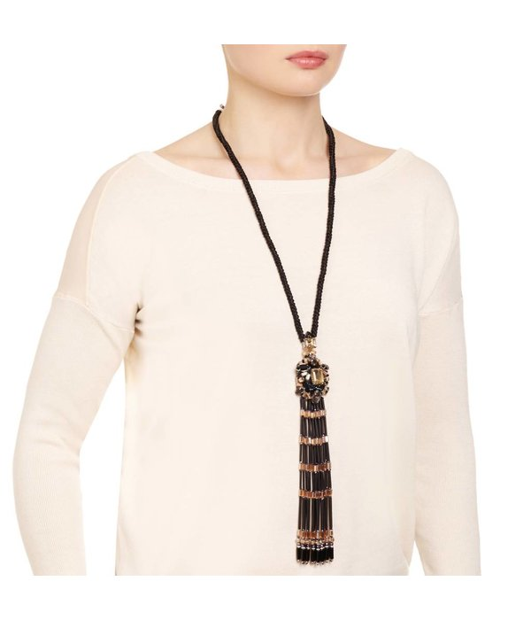 Butterfly High Voltage Black Long Tassel Necklace