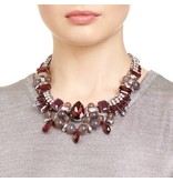 Butterfly Ice Crystal Plum and Silver Choker Necklace