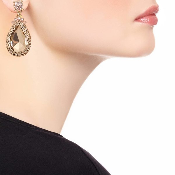Butterfly Star Gazer Gold Tear Drop Earring