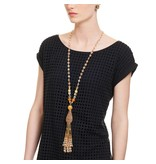 Butterfly Caramel Champagne Classic Tassel Necklace