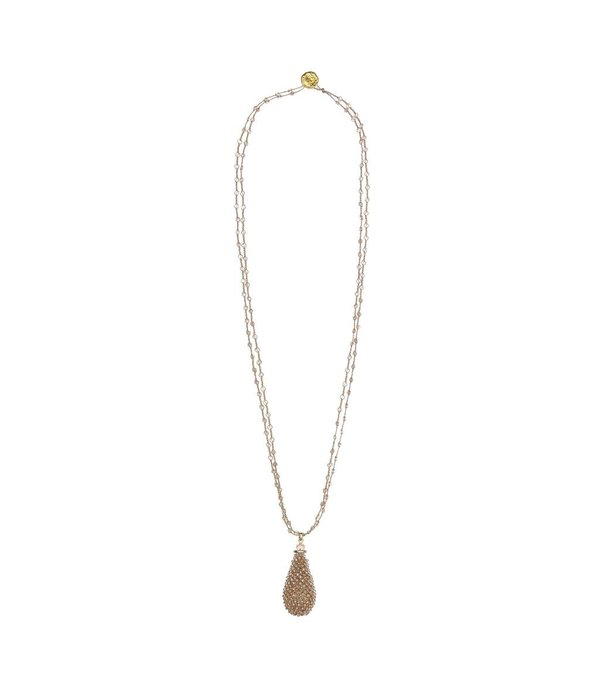 Butterfly Caramel Champagne Double Chain Long Beaded Tassel Necklace