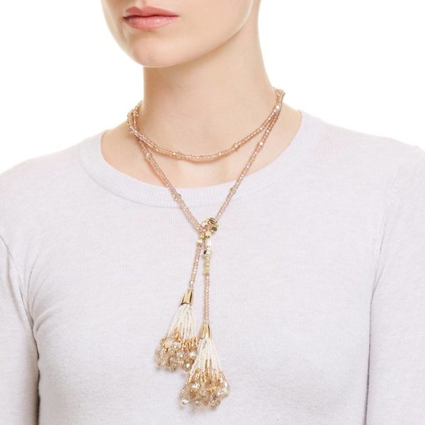 Butterfly Caramel Champagne Tie-Up Tassel Necklace