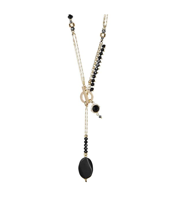 Butterfly Jet Black and Hematite Toggle Clasp Necklace