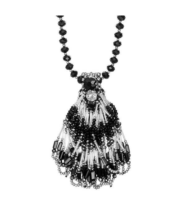 Butterfly Jet Black and Silver Long Beaded Necklace