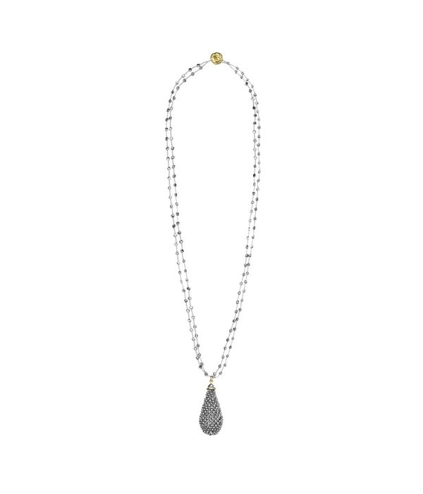 Butterfly Metallic Silver Double Chain Long Beaded Tassel Necklace