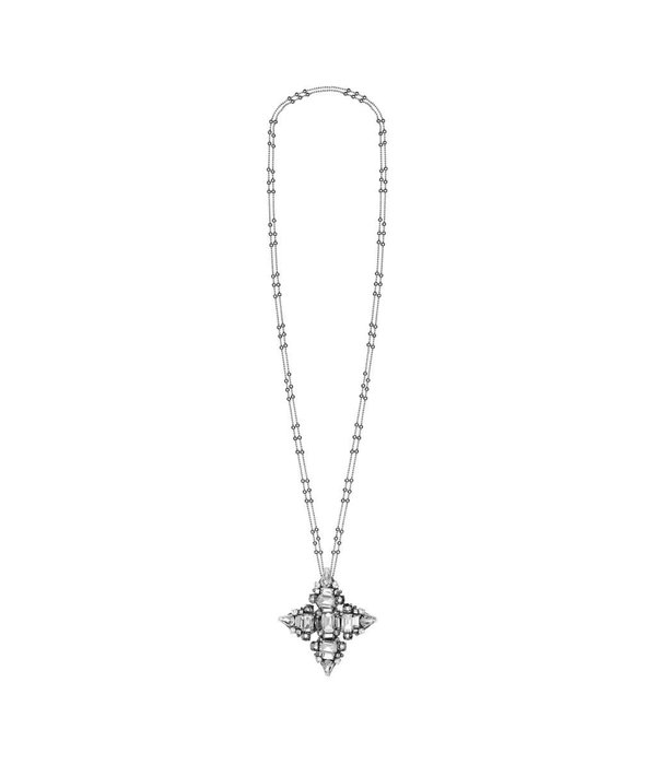Butterfly Silver Mountain Double Chain Long Necklace with Silver Pendent