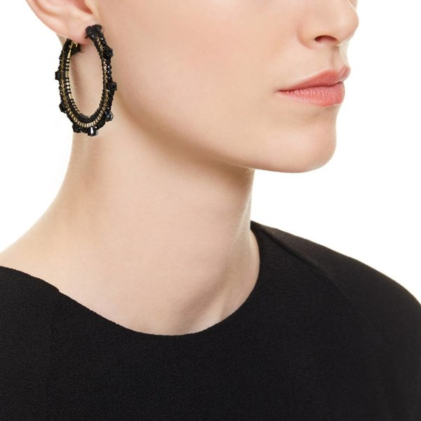 Butterfly Himalya Black and Hematite Hoop Earring