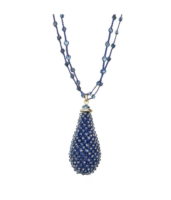 Butterfly Lapis Luxe Montana Double Chain Long Beaded Tassel Necklace