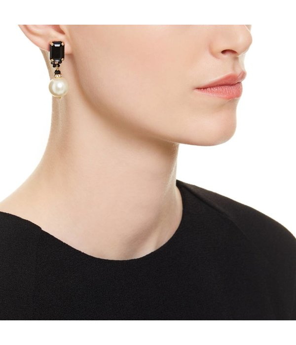 Butterfly Mademoiselle Pearl and Black Drop Earring