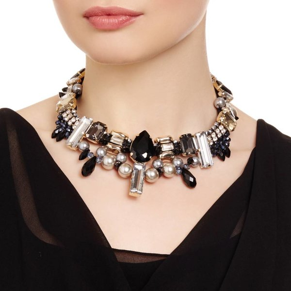 Butterfly Mademoiselle Black and Gold Crystal Choker Necklace