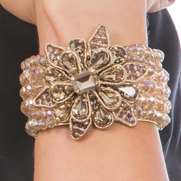 Butterfly Caramel Champagne and Gold Statement Bracelet