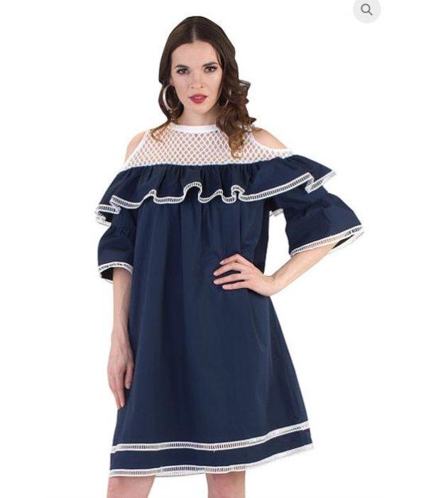 Renee Dress White/Navy
