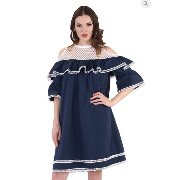 Renee Dress White/Navy
